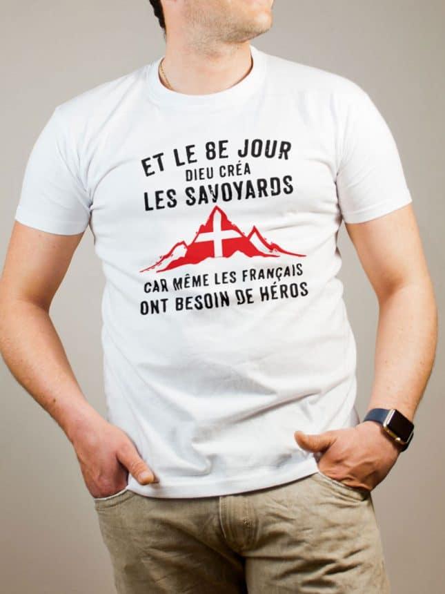 T-shirt Savoie : Dieu créa les Savoyards homme blanc