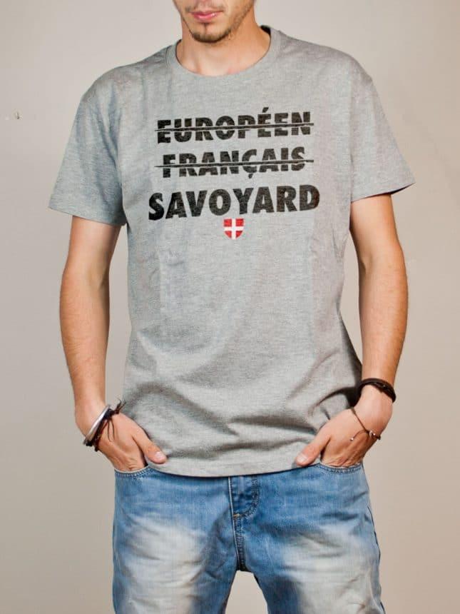 T-shirt Savoie : Européen Français Savoyard homme gris