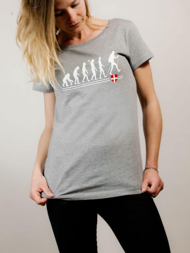 T-shirt Rando : évolution de l'homme en randonneur femme gris