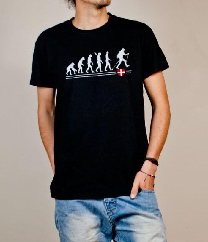 T-shirt Rando : évolution de l'homme en randonneur homme noir