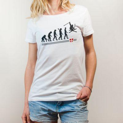 T-shirt Ski : évolution de l'homme en skieur femme blanc