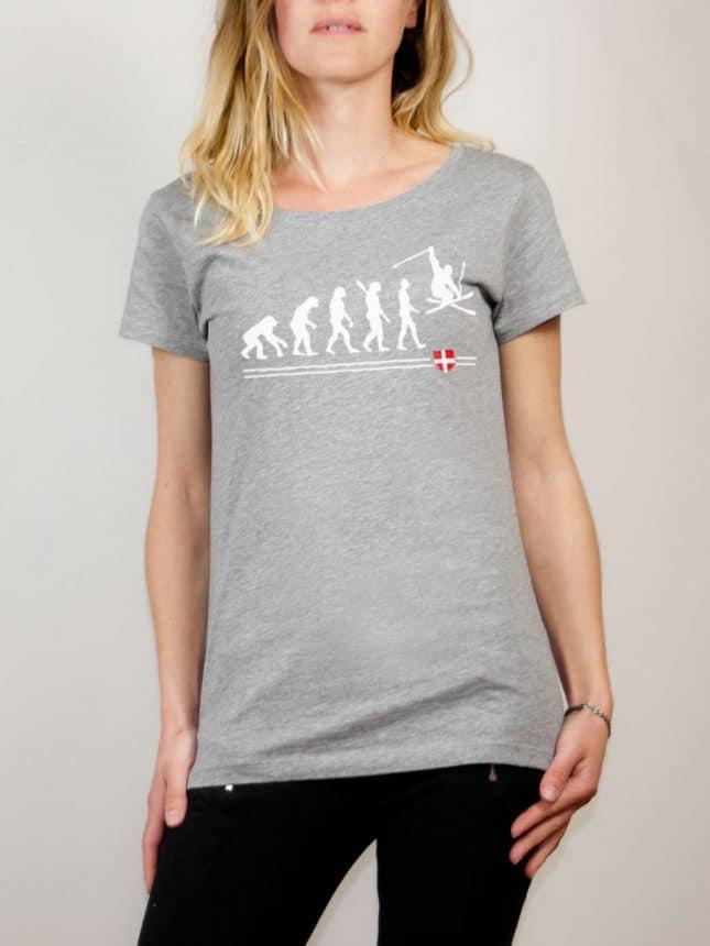 T-shirt Ski : évolution de l'homme en skieur femme gris