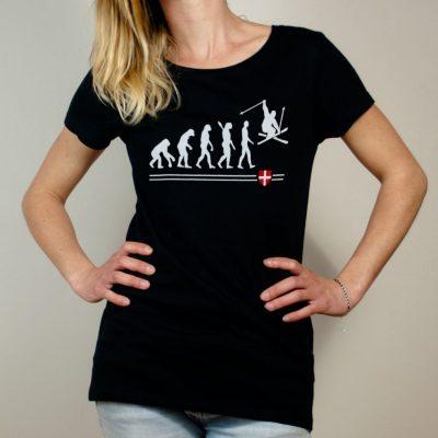 T-shirt Ski : évolution de l'homme en skieur femme noir