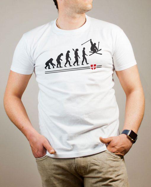 T-shirt Ski : évolution de l'homme en skieur homme blanc