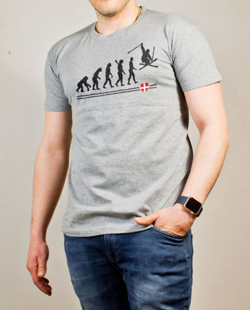 T-shirt Ski : évolution de l'homme en skieur homme gris