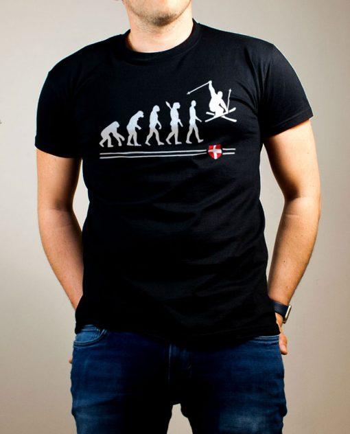 T-shirt Ski : évolution de l'homme en skieur homme noir