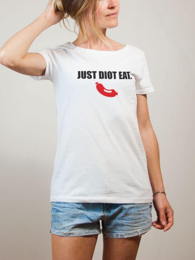 T-shirt Savoie : Just Diot Eat femme blanc