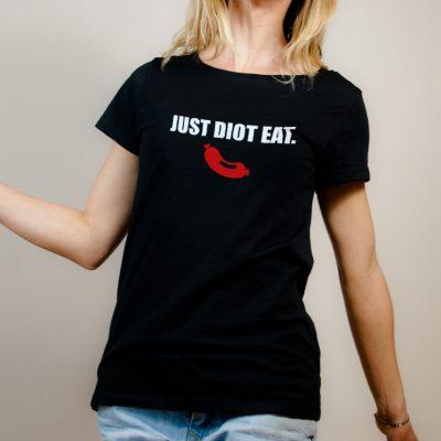 T-shirt Savoie : Just Diot Eat femme noir