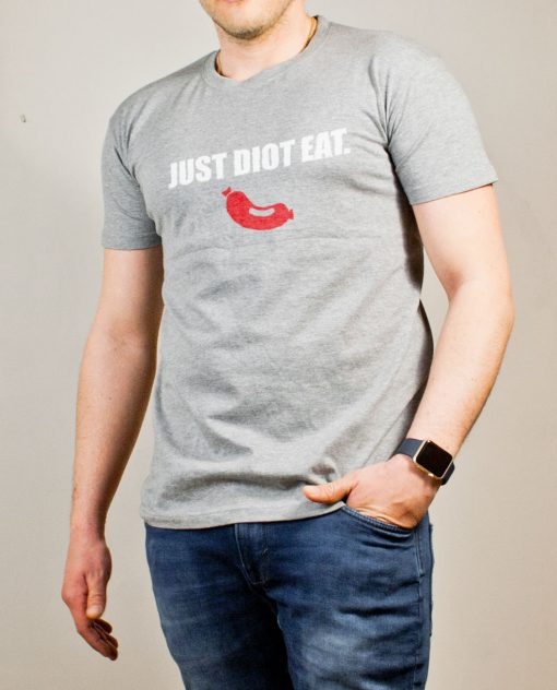 T-shirt Savoie : Just Diot Eat homme gris