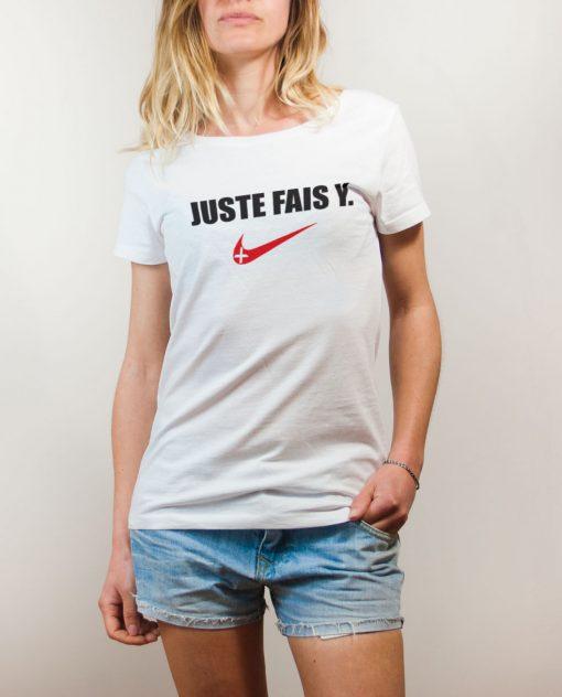 T-shirt Savoie : Juste fais y femme blanc