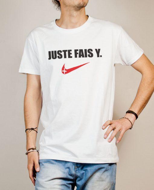 T-shirt Savoie : Juste fais y homme blanc