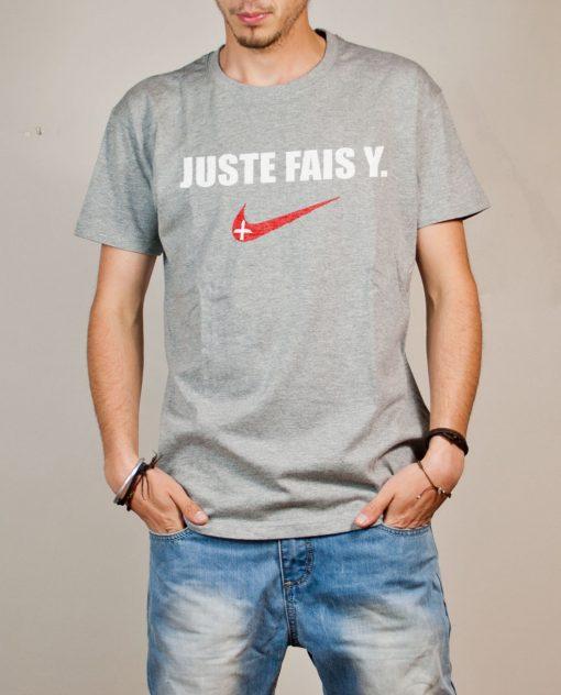 T-shirt Savoie : Juste fais y homme gris