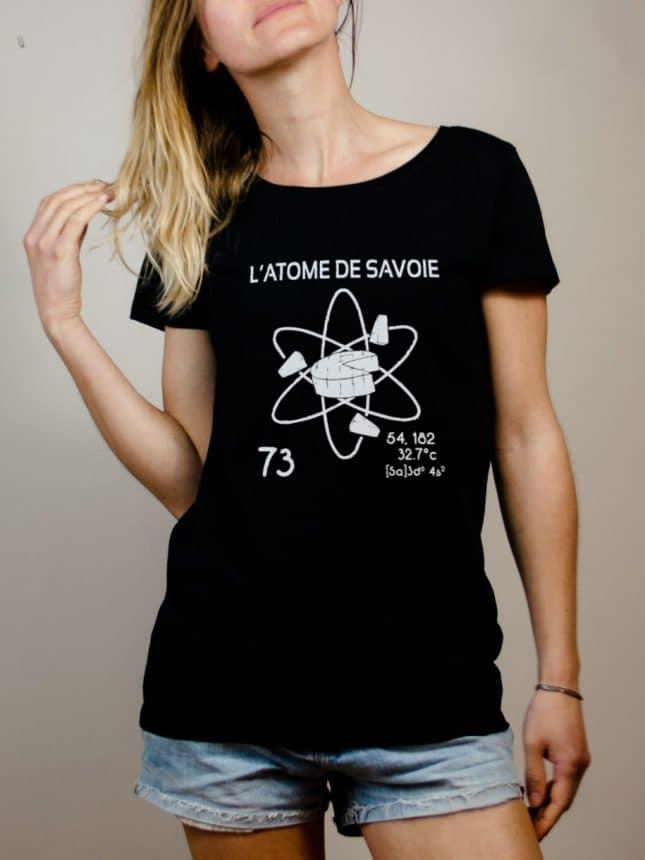 T-shirt Savoie : L'atome de Savoie 73 femme noir