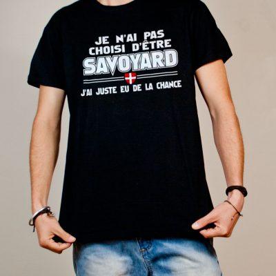 T-shirt Savoie : Savoyard j'ai eu de la chance homme noir