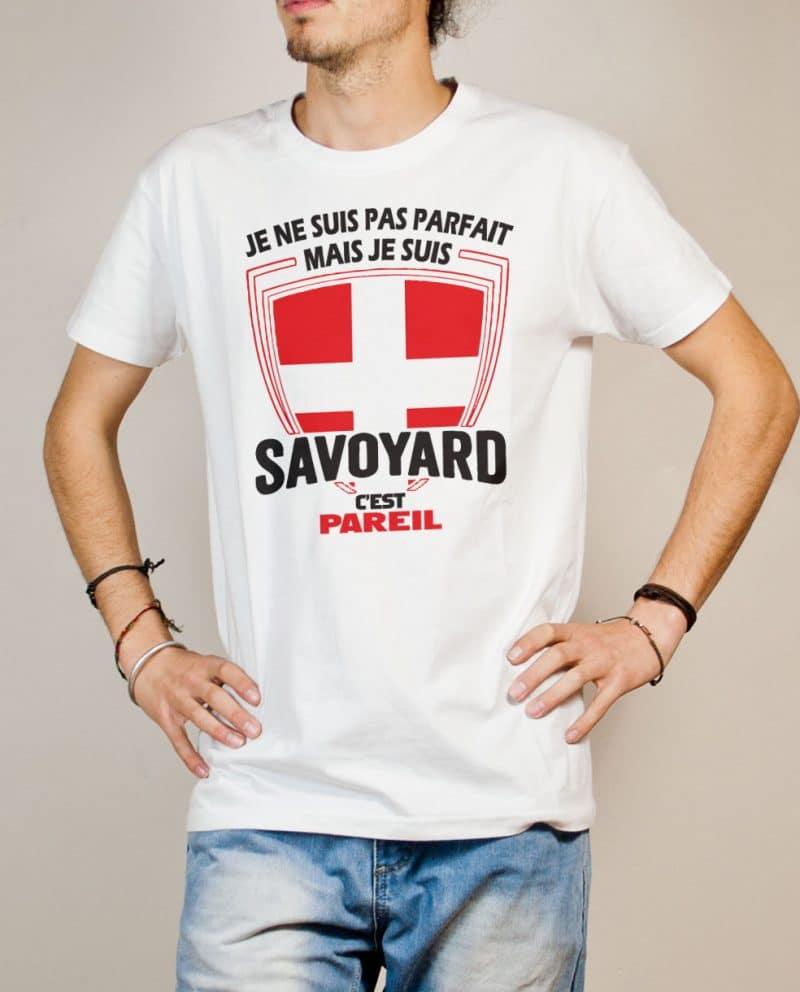 T-shirt Savoie : Je ne suis pas parfait mais je suis Savoyard homme blanc