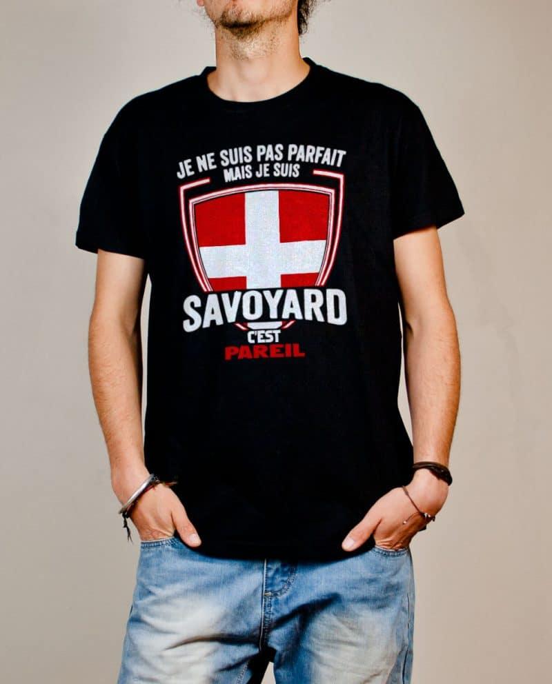 T-shirt Savoie : Je ne suis pas parfait mais je suis Savoyard homme noir