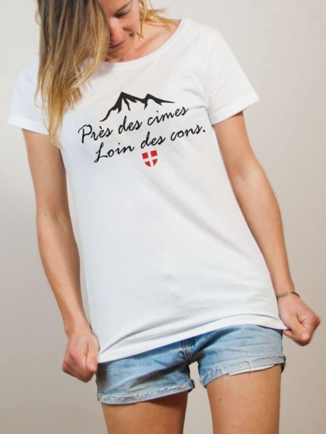 T-shirt Savoie : Près des cimes loin des cons femme blanc