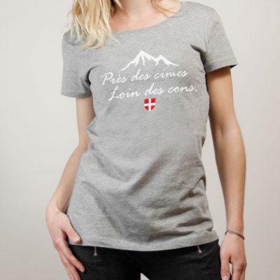 T-shirt Savoie : Près des cimes loin des cons femme gris