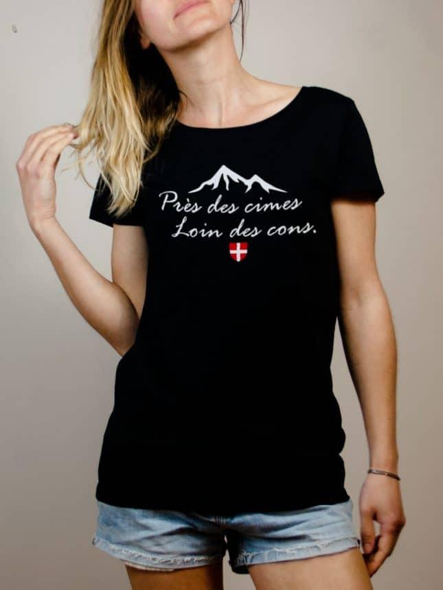 T-shirt Savoie : Près des cimes loin des cons femme noir