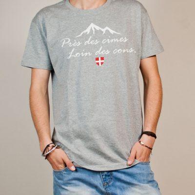 T-shirt Savoie : Près des cimes loin des cons homme gris