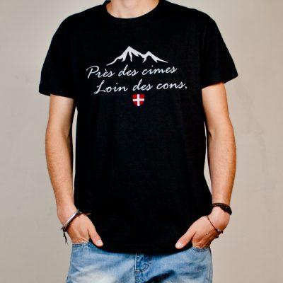 T-shirt Savoie : Près des cimes loin des cons homme noir