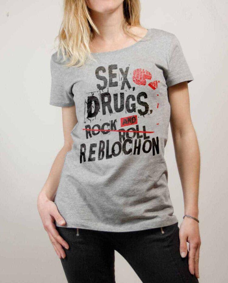 T-shirt Savoie : Sex Drugs and Reblochon femme gris