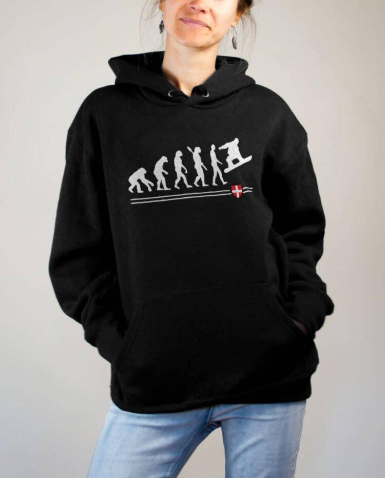 Sweat Snowboard : Évolution de l'homme en snowboarder femme noir