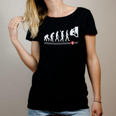 T-shirt Escalade : Évolution de l'homme en grimpeur femme noir