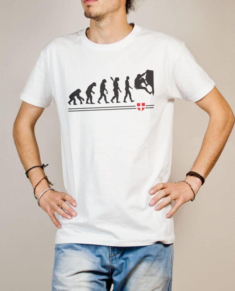 T-shirt Escalade : Évolution de l'homme en grimpeur homme blanc