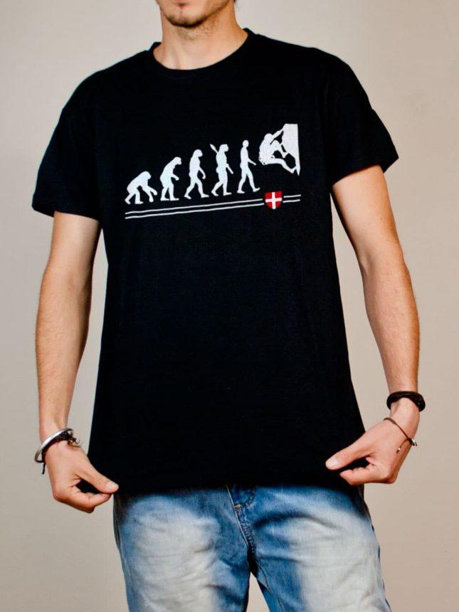 T-shirt Escalade : Évolution de l'homme en grimpeur homme noir