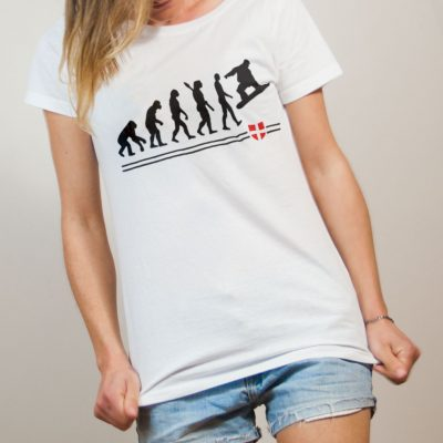 T-shirt Snowboard : Évolution de l'homme en snowboarder femme blanc
