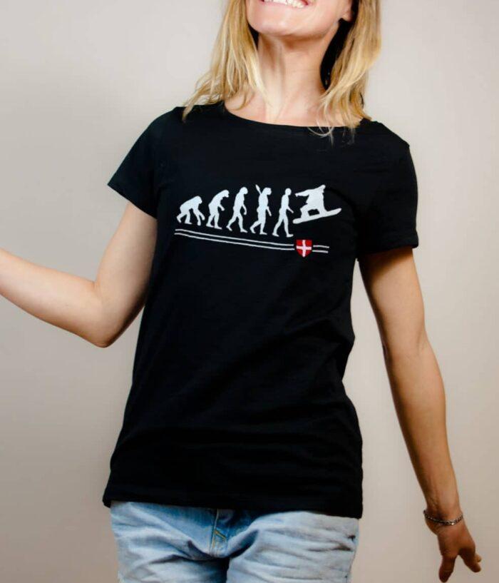 T-shirt Snowboard : Évolution de l'homme en snowboarder femme noir