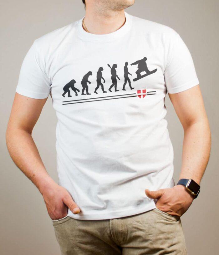 T-shirt Snowboard : Évolution de l'homme en snowboarder homme blanc