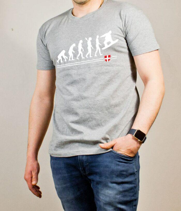 T-shirt Snowboard : Évolution de l'homme en snowboarder homme gris