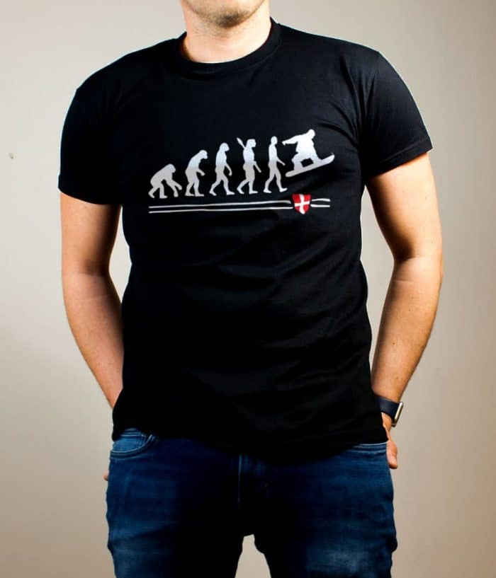 T-shirt Snowboard : Évolution de l'homme en snowboarder homme noir