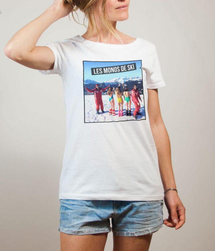 T-shirt Palmashow : Les monos de ski femme blanc