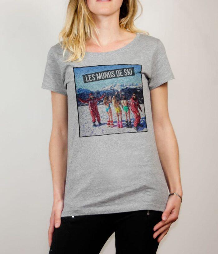 T-shirt Palmashow : Les monos de ski femme gris