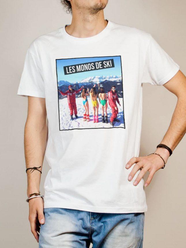 T-shirt Palmashow : Les monos de ski homme blanc