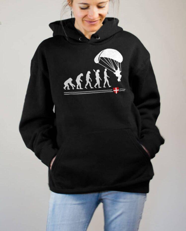 Sweat Parapente : Évolution de l'homme en parapentiste femme noir