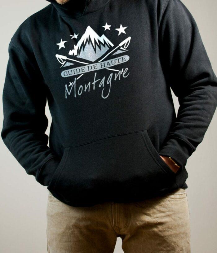 Sweat Montagnard : Guide de Haute Montagne homme noir