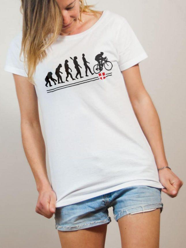 T-shirt Cyclisme : Évolution de l'homme en cycliste femme blanc