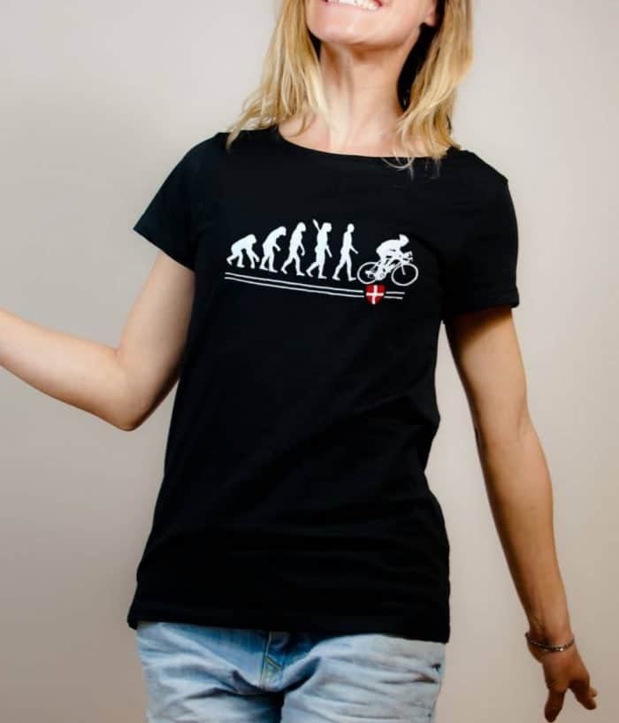 T-shirt Cyclisme : Évolution de l'homme en cycliste femme noir