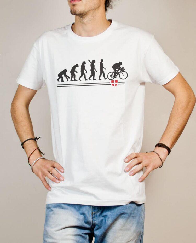 T-shirt Cyclisme : Évolution de l'homme en cycliste homme blanc