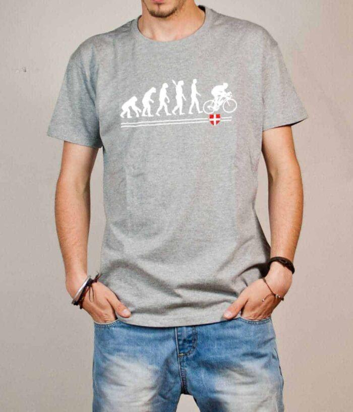 T-shirt Cyclisme : Évolution de l'homme en cycliste homme gris