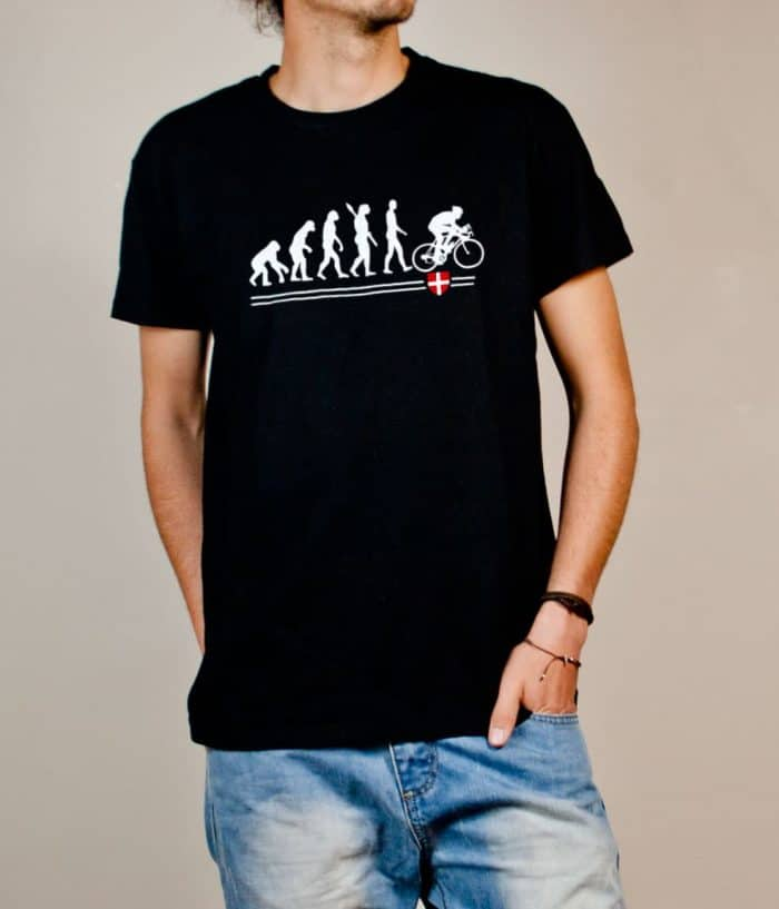 T-shirt Cyclisme : Évolution de l'homme en cycliste homme noir