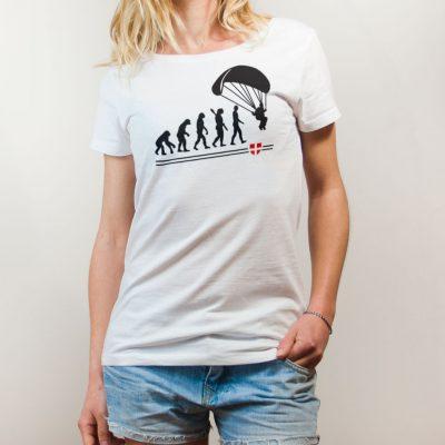 T-shirt Parapente : Évolution de l'homme en parapentiste femme blanc