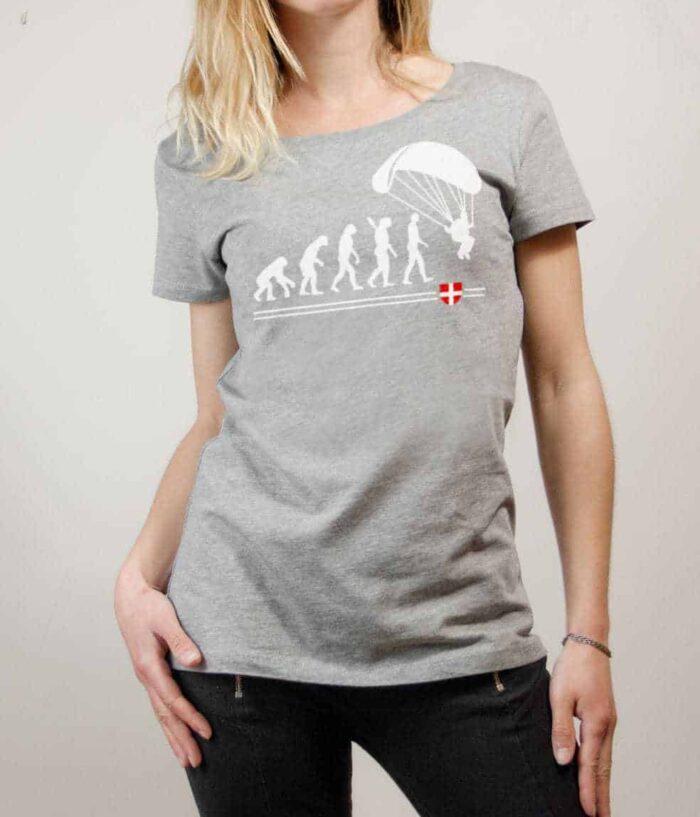 T-shirt Parapente : Évolution de l'homme en parapentiste femme gris