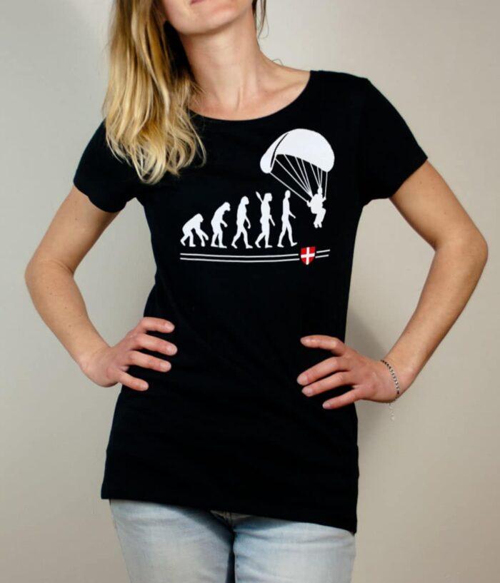 T-shirt Parapente : Évolution de l'homme en parapentiste femme noir