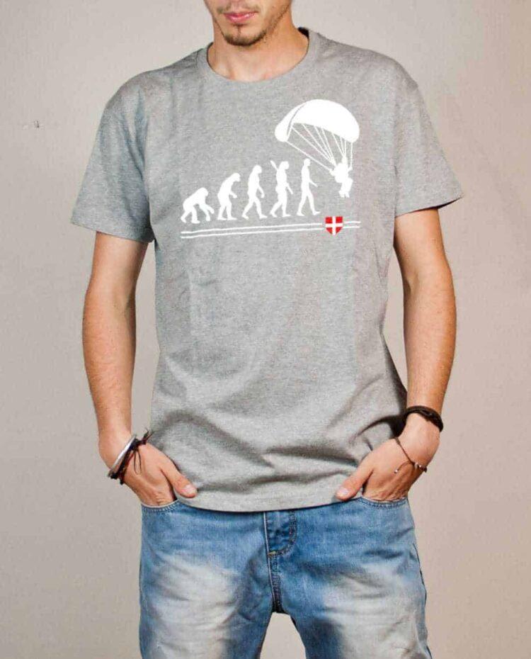 T-shirt Parapente : Évolution de l'homme en parapentiste homme gris