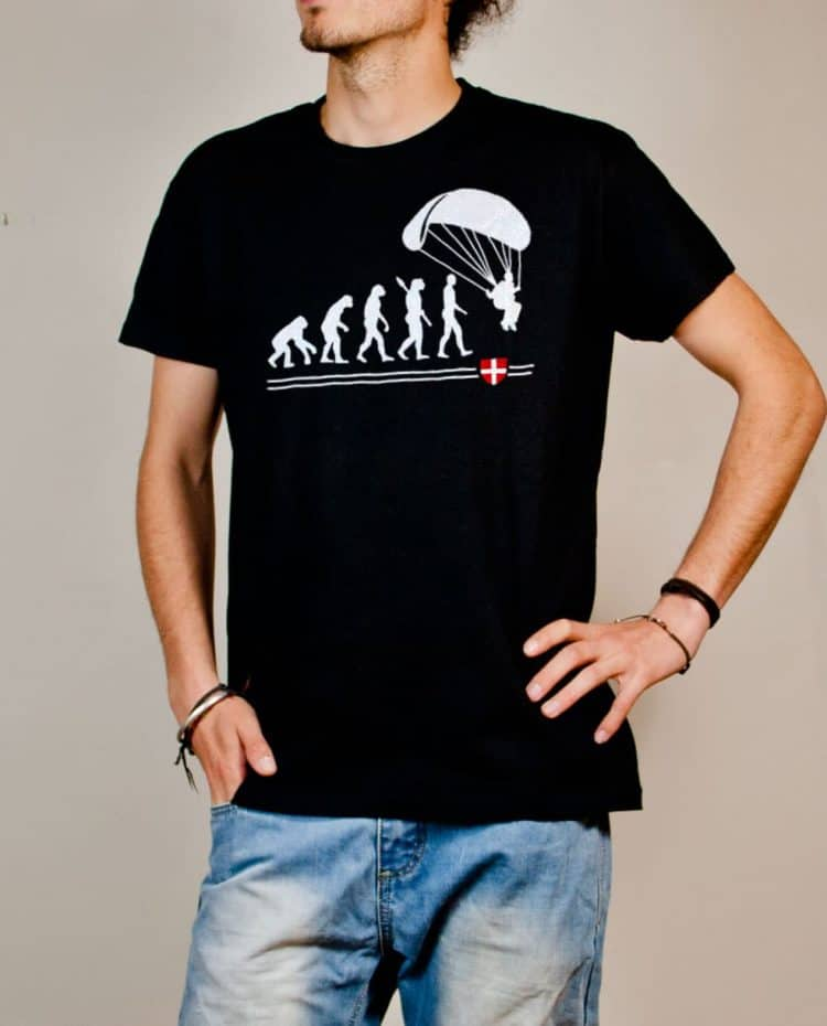 T-shirt Parapente : Évolution de l'homme en parapentiste homme noir
